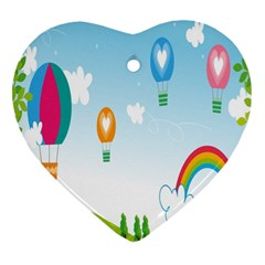 Landscape Sky Rainbow Garden Heart Ornament (Two Sides)