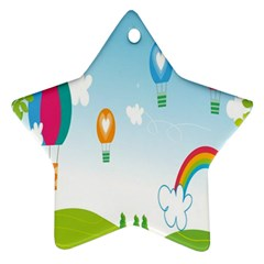 Landscape Sky Rainbow Garden Star Ornament (Two Sides)