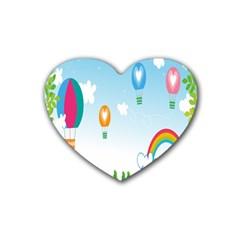 Landscape Sky Rainbow Garden Heart Coaster (4 Pack)