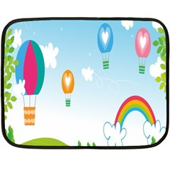Landscape Sky Rainbow Garden Double Sided Fleece Blanket (Mini)
