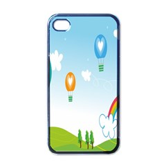Landscape Sky Rainbow Garden Apple Iphone 4 Case (black)