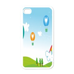 Landscape Sky Rainbow Garden Apple iPhone 4 Case (White)