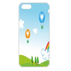 Landscape Sky Rainbow Garden Apple Iphone 5 Seamless Case (white)