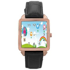 Landscape Sky Rainbow Garden Rose Gold Leather Watch