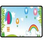 Landscape Sky Rainbow Garden Double Sided Fleece Blanket (Large)  80 x60 Blanket Front
