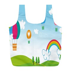 Landscape Sky Rainbow Garden Full Print Recycle Bags (L)