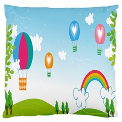 Landscape Sky Rainbow Garden Large Flano Cushion Case (two Sides)