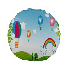 Landscape Sky Rainbow Garden Standard 15  Premium Flano Round Cushions