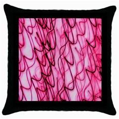 An Unusual Background Photo Of Black Swirls On Pink And Magenta Throw Pillow Case (black)