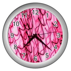 An Unusual Background Photo Of Black Swirls On Pink And Magenta Wall Clocks (Silver)