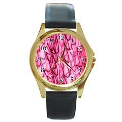 An Unusual Background Photo Of Black Swirls On Pink And Magenta Round Gold Metal Watch