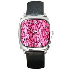 An Unusual Background Photo Of Black Swirls On Pink And Magenta Square Metal Watch