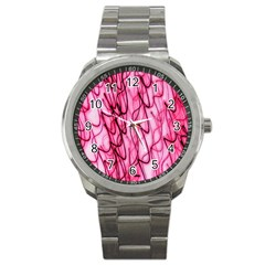 An Unusual Background Photo Of Black Swirls On Pink And Magenta Sport Metal Watch