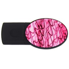 An Unusual Background Photo Of Black Swirls On Pink And Magenta Usb Flash Drive Oval (4 Gb)
