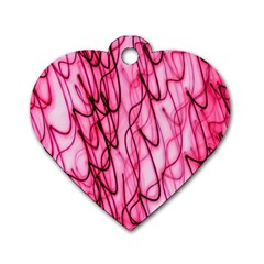 An Unusual Background Photo Of Black Swirls On Pink And Magenta Dog Tag Heart (two Sides)
