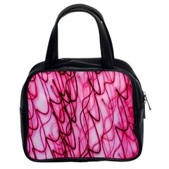 An Unusual Background Photo Of Black Swirls On Pink And Magenta Classic Handbags (2 Sides)