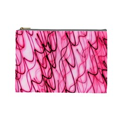 An Unusual Background Photo Of Black Swirls On Pink And Magenta Cosmetic Bag (large)