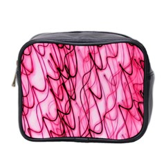 An Unusual Background Photo Of Black Swirls On Pink And Magenta Mini Toiletries Bag 2-Side