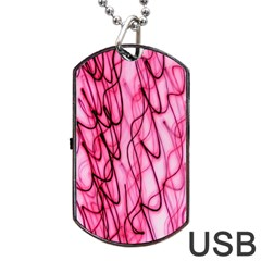 An Unusual Background Photo Of Black Swirls On Pink And Magenta Dog Tag Usb Flash (one Side)