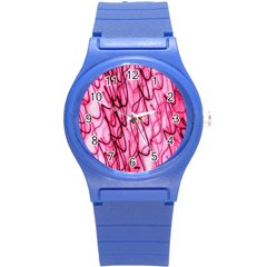 An Unusual Background Photo Of Black Swirls On Pink And Magenta Round Plastic Sport Watch (s)