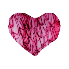 An Unusual Background Photo Of Black Swirls On Pink And Magenta Standard 16  Premium Heart Shape Cushions