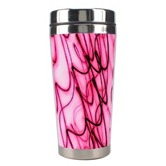 An Unusual Background Photo Of Black Swirls On Pink And Magenta Stainless Steel Travel Tumblers