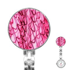 An Unusual Background Photo Of Black Swirls On Pink And Magenta Stainless Steel Nurses Watch