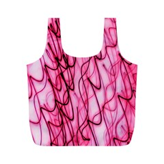 An Unusual Background Photo Of Black Swirls On Pink And Magenta Full Print Recycle Bags (m)