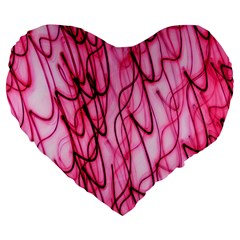 An Unusual Background Photo Of Black Swirls On Pink And Magenta Large 19  Premium Flano Heart Shape Cushions