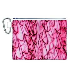 An Unusual Background Photo Of Black Swirls On Pink And Magenta Canvas Cosmetic Bag (l)