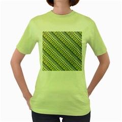 Abstract Seamless Pattern Women s Green T Shirt