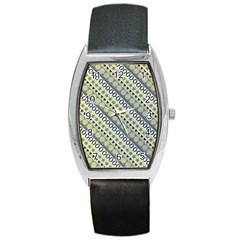 Abstract Seamless Pattern Barrel Style Metal Watch