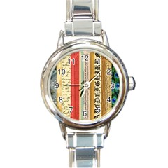 Digitally Created Collage Pattern Made Up Of Patterned Stripes Round Italian Charm Watch