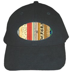 Digitally Created Collage Pattern Made Up Of Patterned Stripes Black Cap