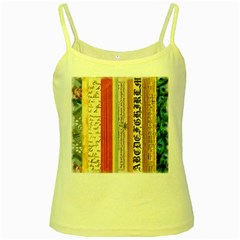 Digitally Created Collage Pattern Made Up Of Patterned Stripes Yellow Spaghetti Tank