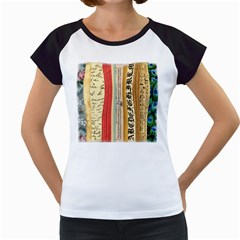 Digitally Created Collage Pattern Made Up Of Patterned Stripes Women s Cap Sleeve T