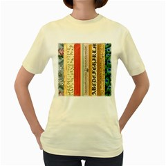 Digitally Created Collage Pattern Made Up Of Patterned Stripes Women s Yellow T Shirt
