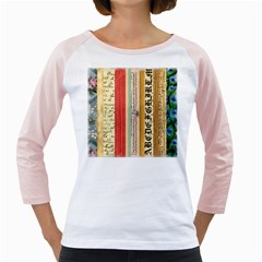 Digitally Created Collage Pattern Made Up Of Patterned Stripes Girly Raglans
