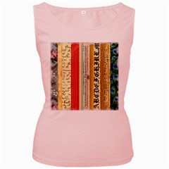 Digitally Created Collage Pattern Made Up Of Patterned Stripes Women s Pink Tank Top