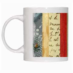 Digitally Created Collage Pattern Made Up Of Patterned Stripes White Mugs