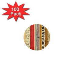 Digitally Created Collage Pattern Made Up Of Patterned Stripes 1  Mini Buttons (100 Pack)