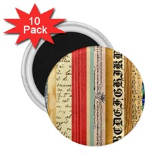 Digitally Created Collage Pattern Made Up Of Patterned Stripes 2.25  Magnets (10 pack)