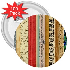 Digitally Created Collage Pattern Made Up Of Patterned Stripes 3  Buttons (100 Pack)