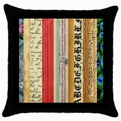 Digitally Created Collage Pattern Made Up Of Patterned Stripes Throw Pillow Case (Black)