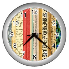 Digitally Created Collage Pattern Made Up Of Patterned Stripes Wall Clocks (silver)