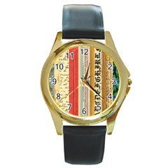 Digitally Created Collage Pattern Made Up Of Patterned Stripes Round Gold Metal Watch