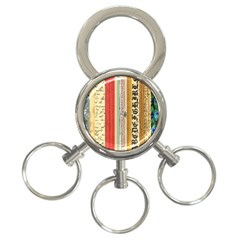 Digitally Created Collage Pattern Made Up Of Patterned Stripes 3-Ring Key Chains