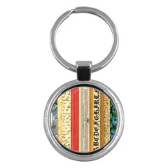 Digitally Created Collage Pattern Made Up Of Patterned Stripes Key Chains (round)