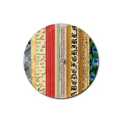 Digitally Created Collage Pattern Made Up Of Patterned Stripes Rubber Round Coaster (4 pack)