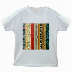 Digitally Created Collage Pattern Made Up Of Patterned Stripes Kids White T Shirts